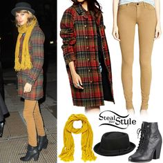 Taylor Swift out in New York. December 10th, 2014.  Free People Plaid Cocoon Wool Coat, Joe's Jeans Mid Rise Leggings in Caramel, the Free People Patton Porkpie Hat, a scarf similar to this from River Island and a pair of Rag & Bone Miles Boots.