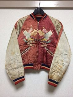 "vintage 50s ""skajan"" japanese satin embroidered souvenir jacket"