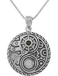 Jewelry Trends Sterling Silver and CZ Steampunk Yin Yang Pendant on 18 Inch Box Chain Necklace