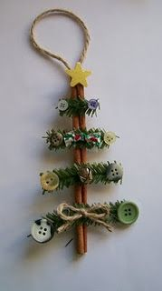 How cute is this? These would be great gift decorations, too! Cinnamon stick Christmas tree ornaments.