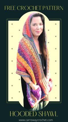 Crochet Shawl Free, Crochet Wrap Pattern, All Free Crochet, Tote Pattern, Crochet Scarves, Crochet Clothes, Easy Crochet, Knit Crochet, Crochet Patterns