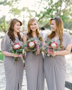 Gray Bridesmaid Gowns  | http://brideandbreakfast.ph/2015/05/12/blooming-and-beautiful/ | Photography: Toto Villaruel