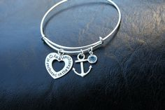 Alex and Ani Inspired Bracelet - My Heart Is Anchored On The East Coast - Anchor Charm - Swarovski Birthstone - Adjustable -Canadian Shop R2