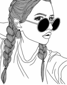 Hi babe, girl sketch, cat eye sunglasses, pretty girls, cute girls Tumblr Girl Drawing, Tumblr Sketches, Tumblr Drawings, Girl Drawing Sketches, Cute Girl Drawing, Girly Drawings, Outline Drawings, Girl Sketch, Tumblr Art