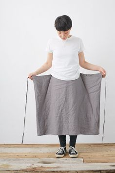 SARAXJIJI フォールドスカート(リンクルリネン2色)