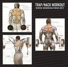 """Traps workout/ Idk what a """"nack"""" is but these are all exercises I actually like doing."""