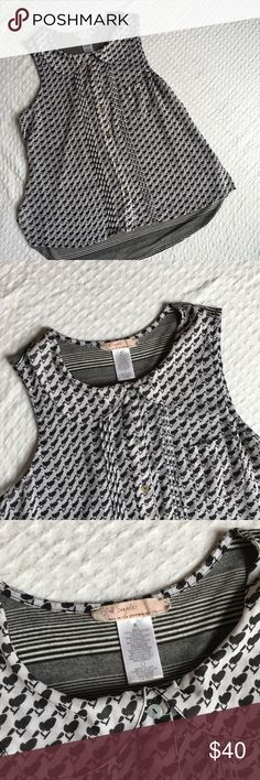 Free People Peter Pan Sleeveless Top Adorable Free People sleeveless button up top with mixed patterns (front and back). Features a Peter Pan collar and a rounded hem. Semi sheer. Excellent condition. Reasonable offers welcome! Free People Tops Blouses