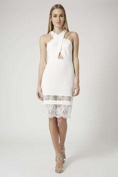 Halter Cut-Out Lace Hem Dress