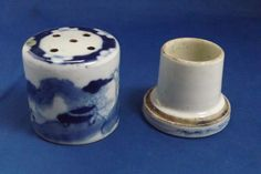 #antique 18/19thc Antique Chinese Blue & White Canton Porcelain Sander Two Piece Rare please retweet