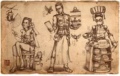 Character design by illustrator James Ng. A young couple and a robot waitress design inspired by the steampunk genre and Chinese teahouse culture. Game Concept Art, Character Concept, Steampunk Furniture, Alternate History, Pencil Illustration, Dieselpunk, Learn To Draw, Dark Art, Pet Birds