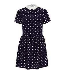 Navy polka dot tea dress €33.00
