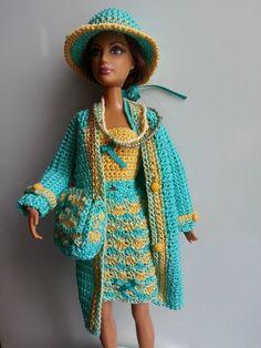 Bildresultat för free crochet doll costumes for barbie dolls American Girl Crochet, Crochet Doll Dress, Knitted Dolls, Free Crochet, Knit Crochet, Barbie Dress, Barbie Doll, Barbie Clothes, Little Girls