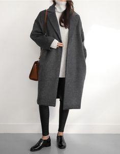 Clothing coat gray ladies autumn fashion wool coat dark gray ClothingSource : mantel grau damen herbstmode wollmantel dunkelgrau by freshideen Looks Street Style, Looks Style, Mode Outfits, Casual Outfits, Gray Outfits, Outfits 2016, Look Fashion, Autumn Fashion, Women's Fashion