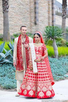 A Hindu & Jewish California Wedding, Poonam & Mark Groomsmen Outfits, Pipe And Drape, Hindu Bride, Multicultural Wedding, Sari Blouse, Bride Makeup, Pantone Color, California Wedding, Headpiece