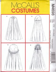 McCalls M4698 Size S M uncut - Factory Folded 2004  Misses Capes: Lined cape has gathers at neck and collar; B has collar and hod with ribbon