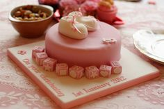 Christening Cake with little booties... perfect for Christening, naming or a first birthday or Baby Shower cake