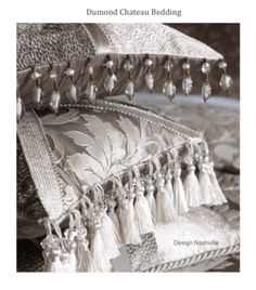 Faux silk damask and beaded trim pillows in silvery taupe.  Dumond Chateau Collection, Design Nashville