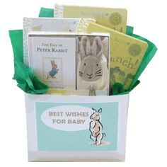 Peter Rabbit Baby Books Gift Box - Share Beatrix Potter's classic The Tale of Peter Rabbit a timeless gift perfect for any baby. Peter Rabbit Baby Gifts, Peter Rabbit Books, Mother's Day Gift Baskets, Book Baskets, Unique Baby Gifts, New Baby Gifts, Baby Gift Box, Wishes For Baby, Newborn Gifts