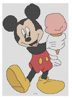 free cross stitch patterns and links: free Mickey Mouse Pattern Mickey with ice cream