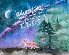 ADVENTURE quote art, traveler gift, gift for adventurer, fox art, nature art, nature quote art