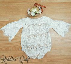 lace romper handmade by reddies craft. baby fashion