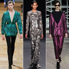 High Shine: Designers like Balmain, Moschino Cheap & Chic, and Naeem Khan sent out an array of gowns, slick pantsuits, and statement tops that will keep you shimmering from dusk till dawn. From left: Balmain, Naeem Khan, Moschino Cheap & Chic