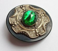"""large antique Victorian """"gay 90's"""" button : celluloid wafer with stamped brass fitting and faceted emerald green jewel"""