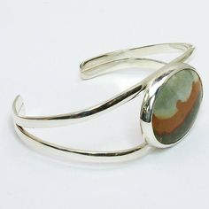 Picture Jasper and Sterling Silver Cuff Bracelet silver cuff bracelets Your place to buy and sell all things handmade Silver Bracelet For Girls, Silver Jewelry Box, Mens Silver Necklace, Sterling Silver Cuff Bracelet, Silver Earrings, Silver Ring, Earrings Uk, Jewelry Bracelets, Jewellery