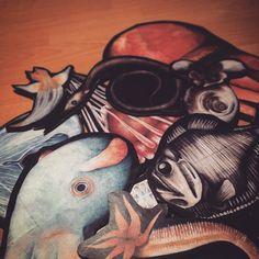 #cardboard #animals #deepsea #deepseacreatures #figures #fish #octopus #jelly #worm #aquarelle #colourpencil #prints #cutout #crafting #nightshift #exam #eal #ocean #marinelife #sea #art #istaart #instafish #colourful #dumbo