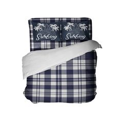 Blue Surfer Plaid Comforter Set with Surfing Pillowcases from Kids Bedding Company Dorm Room Comforters, Cool Comforters, Dorm Bedding, Linen Bedding, Bed Linens, Linen Fabric, Bedspreads, Preppy Bedding, Plaid Comforter