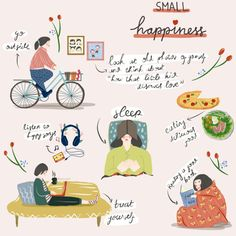 What Defines Happiness By Hafni Iva N Thearthunters - What Defines Happiness By Hafni Iva N This Artwork Is From Hafni Iva N An Illustrator From Indonesia She Created Those Beautiful Illustrations About How We Can Define Happiness Make Sure You Create Define Happiness, Vie Motivation, Self Care Activities, Poster S, Self Care Routine, Cute Illustration, Self Improvement, Self Help, Happy Life