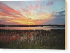 Sun Wood Print featuring the photograph Sunset And Reflections by Cynthia Guinn