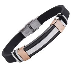 This elegant piece features a beautiful Italian style stainless steel and rubber combination, guaranteed to add an impressive, eye - catching touch to your look Rubber Bracelets, Bracelets For Men, Silver Bracelets, Bangle Bracelets, Guy Jewelry, Unique Jewelry, Bronze, Italian Mens Fashion, Personal Image