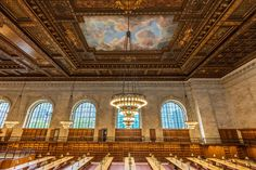 NYPL's Rose Main Reading Room before 2016 reopening after 2 yr restoration, Main Branch of the New York Public Library on 42nd Street, built 1902-1911 in Beaux-Arts style ... 78 feet wide, 297 ft long, 51 ft high, w/ 42 white oak tables, each seating up to 16 readers