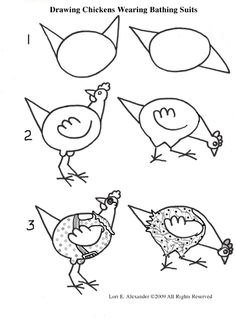 how to draw chickens