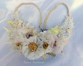Necklace style, for a bride,  fabric flowers, fashion