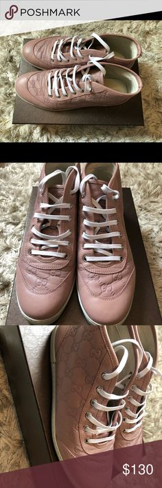 Gucci monogram sneakers Pink leather monogram comes with original box and shoe bag Gucci Shoes Sneakers