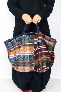 Japanese boro Sakiori tote bag/big size/handwoven textile/cotton/patched hand stitch/kimono/remake/reversible/304
