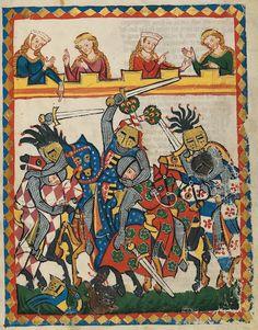 """TROVADOR  """"O cantor desta iluminura de batalha, no centro, com o cavalo vermelho, é Johann von Brabant (1252-1294). Ele é um dos mais importantes príncipes de seu tempo. Através da vitória na batalha de Worringen (1288), o duque Johann pôde anexar Luxemburgo ao Brabante. O duque ficou famoso por seu fino comportamento em sua corte. No século XIII, a glória do príncipe já não derivava somente de sua bravura em combate. Era igualmente importante que sua corte tivesse brilho, que fosse rodeada…"""