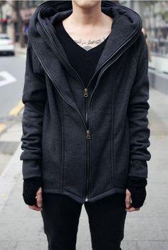 Mens Hooded Zipper Cotton Cardigan Sweatshirt Coat Mens Hoodie Black Dark Grey L057 on Etsy, $79.99