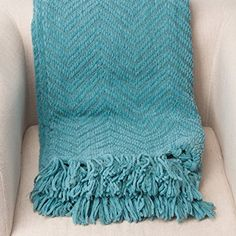 "Amazon.com: Knit Zig-Zag Textured Woven Throw Blanket Turquoise 60"" x 50"" by Battilo Inc: Bedding & Bath"