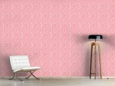cement effect wallpaper Rose Illustration, Photos Originales, Barcelona Chair, Decoration, Cement, Bar Stools, Delicate, Rugs, Cool Stuff