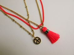 Peace Tassel Necklace - Pink