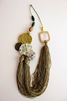 Fabric Necklace Boho Scarf Necklace Olive by catyflowerjewelry f8479a5534d