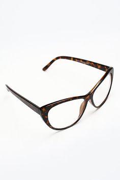 Oversized 'Violet' Clear Cat Eye Glasses - Black - 1100-1
