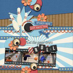 Digital Scrapbook Layout using Sports Mad by Studio Flergs