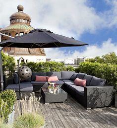 rooftop garden, love the color scheme