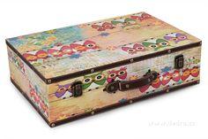 Úložné doplňky | Dedra Soví dřevěný kufr větší 46 x 30,5 x 13 cm | Registrace DEDRA, hračky, hry, dárky a ekologická drogerie