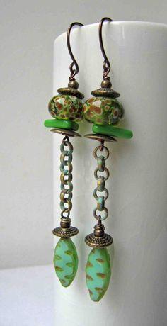 Long green - handmade earrings, ceramic earrings, beaded earrings, green earrings.long earrings on Etsy, $31.93