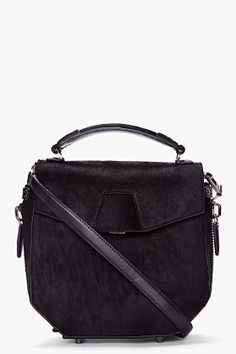 ALEXANDER WANG Black Distressed Calf-Hair Devere Messenger Bag